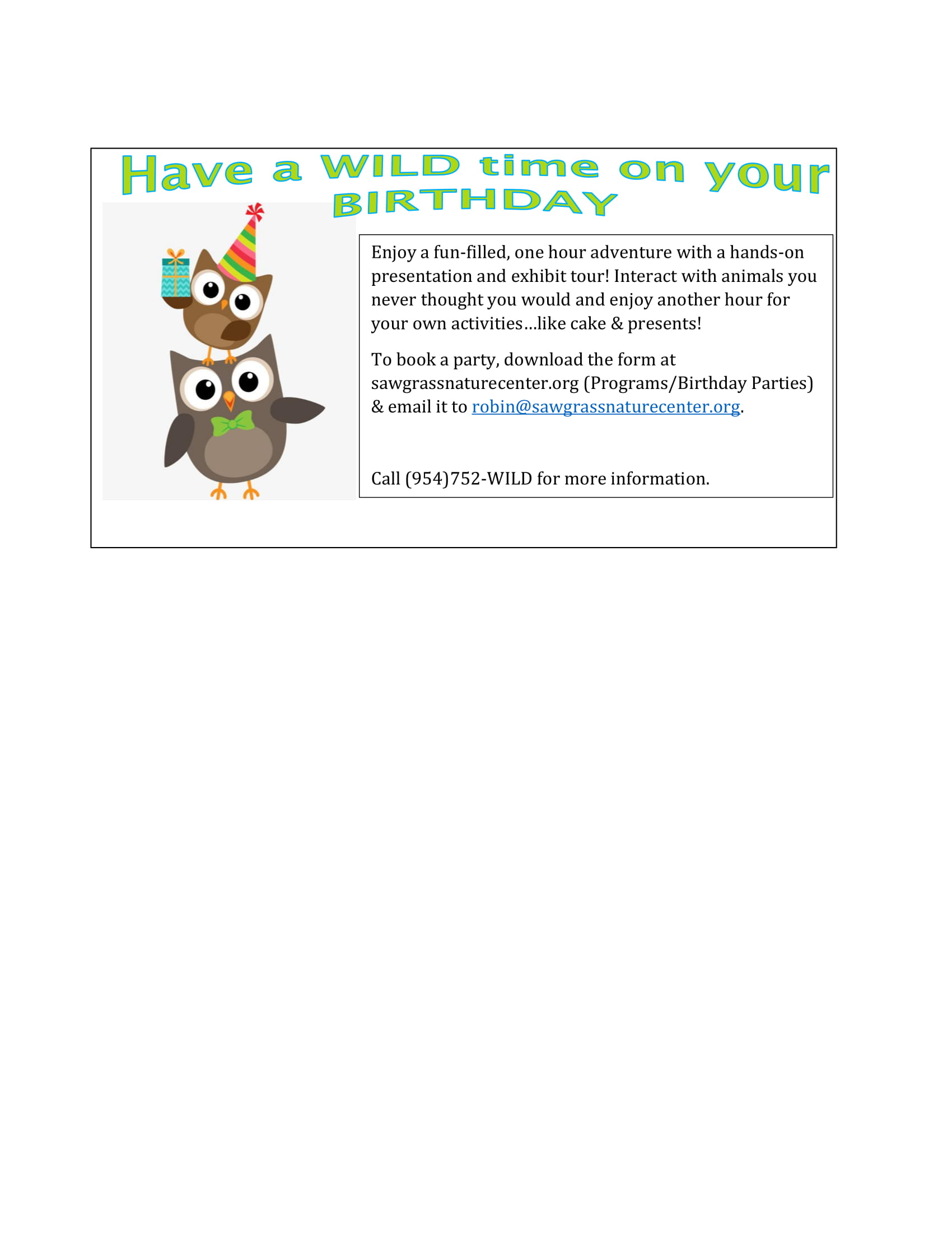 Birthday Parties | Sawgrass Nature Center & Wildlife Hospital